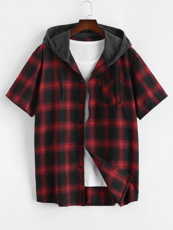 unique Plaid Print Short Sleeve Casual Hooded Shirt - RED L