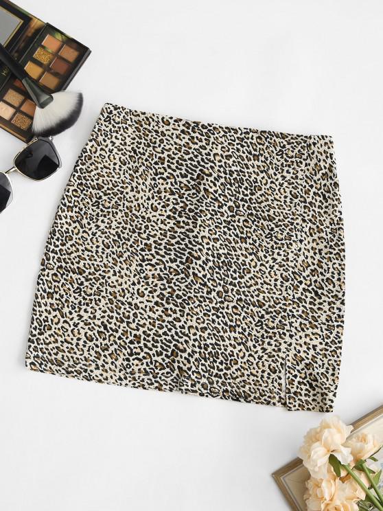 Mini Falda con Faldas de Leopardo - café M