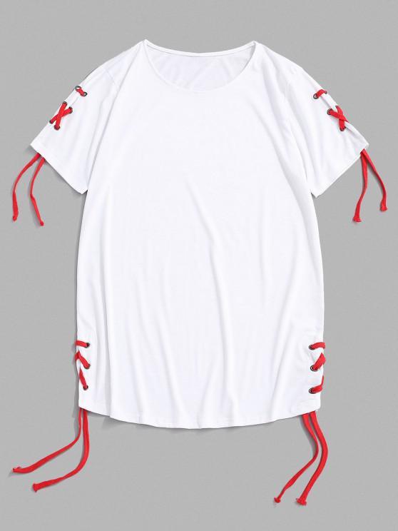 Einfarbiges Freizeithemd mit Schnürsenkel und Rundem Saum - Weiß XXL