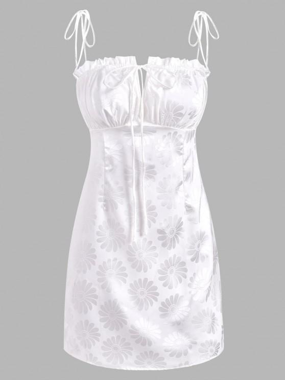 latest Floral Jacquard Tie Ruched Frilled Dress - WHITE M