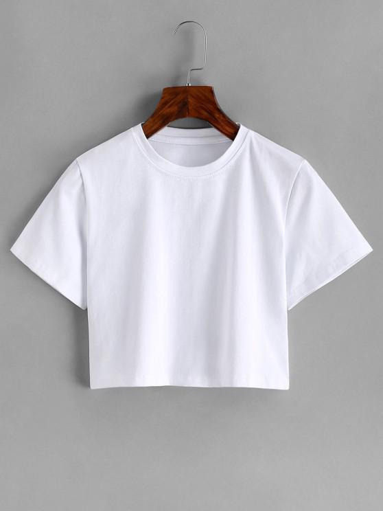 women Basic Crop Tee - WHITE S