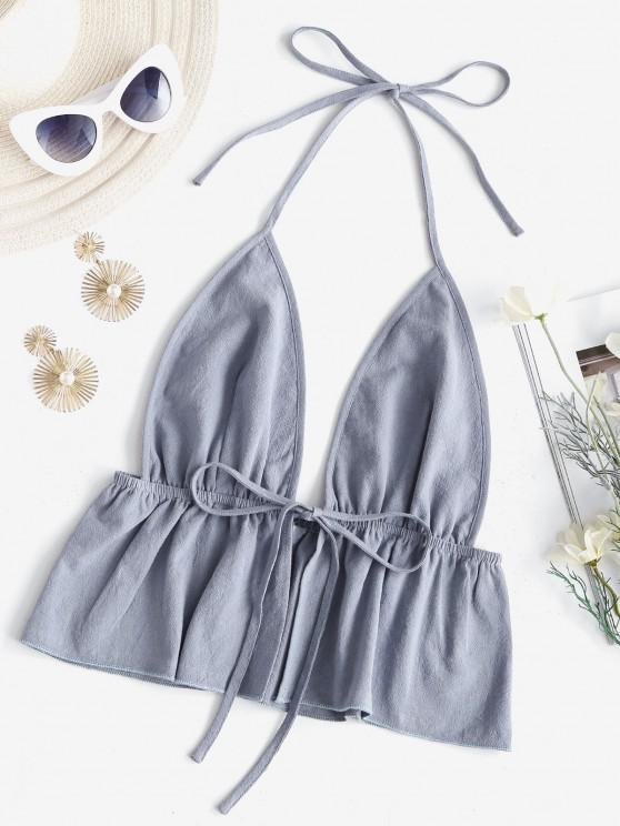 outfits Halter Tie Front Flounced Hem Backless Top - LIGHT BLUE M