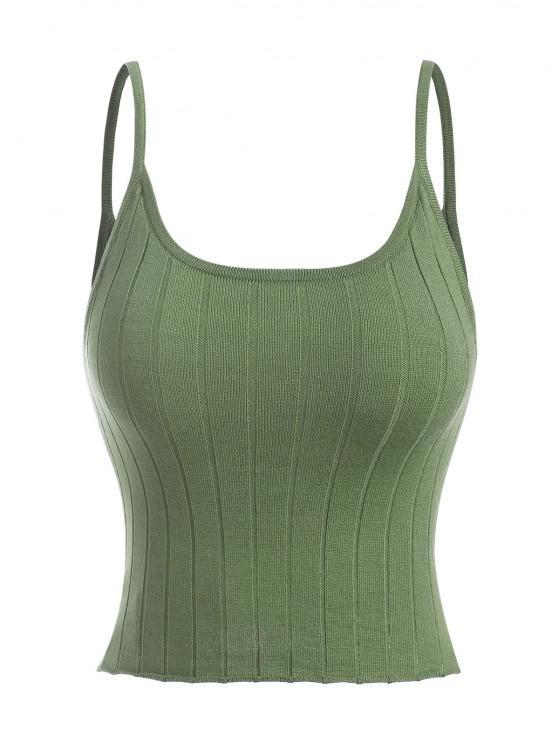 Gestrickte Cami Top - Grün Eine Größe