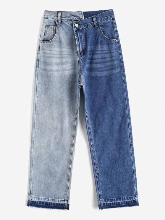 Jeans Desteñidos Rectos y Deshilachados - Gris Azulado M