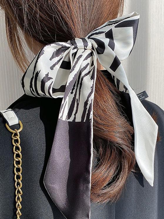 women Silky Zebra Print Pointed End Long Hair Scarf - MULTI-B