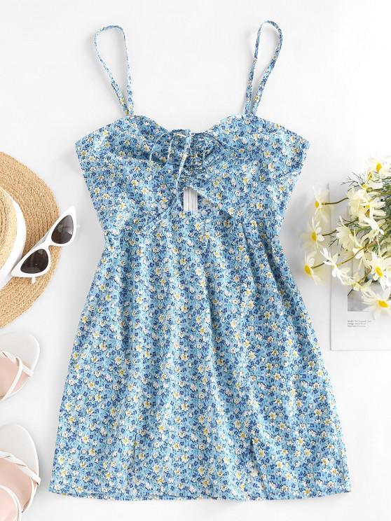 ZAFUL Mini Robe D'Eté Fleurie Imprimée Style Bohémien - Bleu clair S