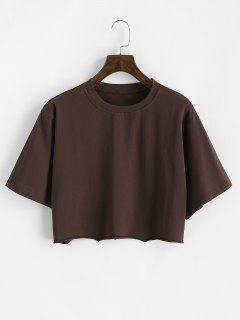 Kastige T-Shirt Mit Rohem Saum - Kaffee M