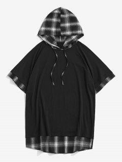 Spliced Plaid Drawstring Casual Hooded T-Shirt - Black Xxl