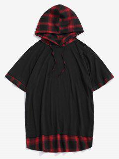 Spliced Plaid Drawstring Casual Hooded T-Shirt - Red Xxl