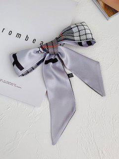 Versatile Plaid Print Elongated Silky Scarf - Light Gray