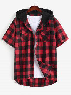 Plaid Print Front Pocket Hooded Shirt - Red L