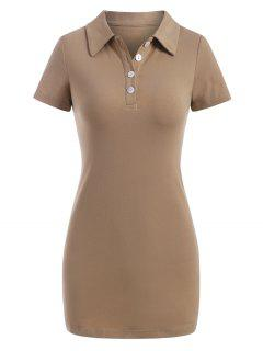 Half Button Slinky Mini Tee Dress - Light Coffee M