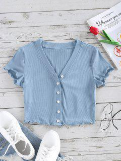 ZAFUL Lettuce Trim Button Up Ribbed Cropped Tee - Light Blue L
