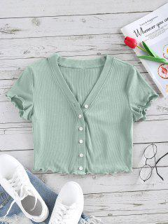 ZAFUL Lettuce Trim Button Up Ribbed Cropped Tee - Light Green M