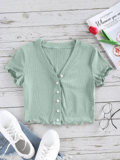 ZAFUL Camiseta Corta Acanalada Con Botones - Verde Claro S