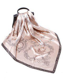 Rose Scribble Print Faux Silk Square Scarf - Light Khaki