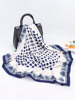 Floral Polka Dot Print Sqaure Faux Silk Scarf - Cadetblue