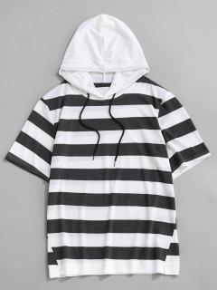 T-Shirt Rayé à Capuche à Manches Courtes Avec Cordon - Gris Foncé L