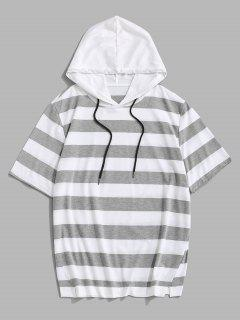 Striped Drawstring Short Sleeve Hooded T-Shirt - Light Gray M