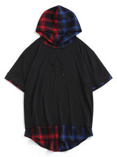 Colorblock Spliced Plaid Hooded T-Shirt - Black Xxl