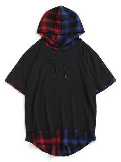 Colorblock Spliced Plaid Hooded T-Shirt - Black L