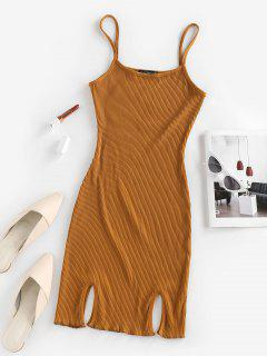 ZAFUL Ribbed Slit Bodycon Cami Dress - Deep Yellow S