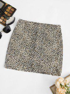 Leopard Split Hem Minirock - Kaffee S