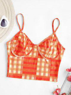 Plaid Bustier Camisole - Orange S
