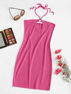 Ribbed Cutout Halter Tied Bodycon Dress - Light Pink L