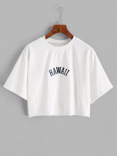 Boxy Hawaii Letter Embroidered Raw Hem T-shirt - White S
