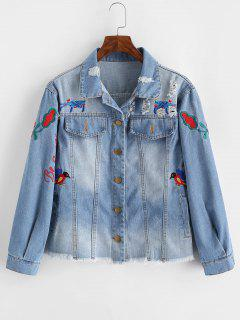Floral Bird Embroidered Raw Hem Ripped Denim Jacket - Blue S