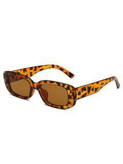 Narrow Rectangle Retro Sunglasses - Leopard