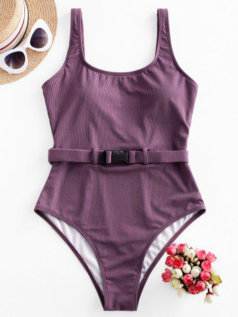 outfits ZAFUL Ribbed Buckle Belted High Cut One-piece Swimsuit - VIOLA PURPLE S Mobile