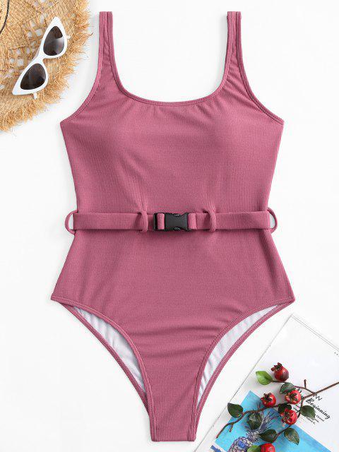 ZAFUL مضلع الإبزيم مربوط السامي قص قطعة واحدة ملابس السباحة - شاحب بنفسجي أحمر M Mobile