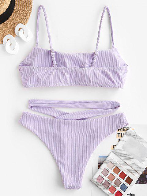 ZAFUL Gerippte Crossover Bralette Bikini Badebekleidung mit Hoher Taille - Helles Lila S Mobile