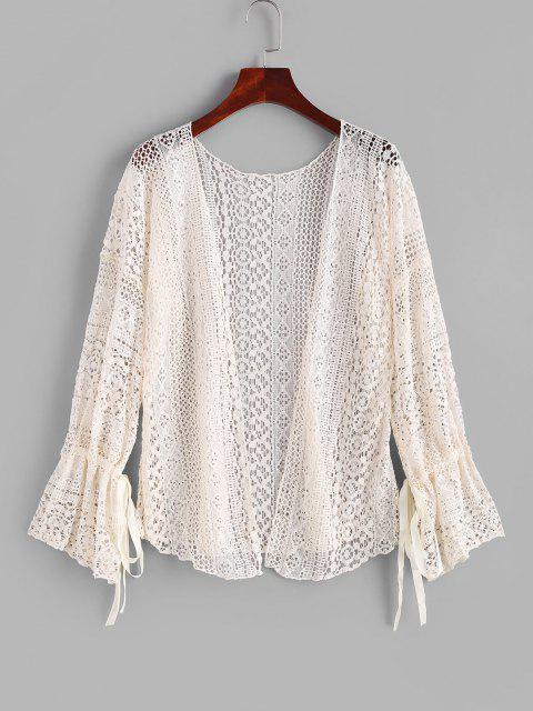 outfit Tie Lace Poet Sleeve Cover-up - LIGHT COFFEE ONE SIZE Mobile