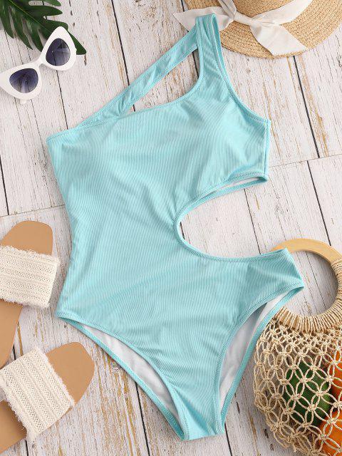 sale ZAFUL Irregular Beauty Cutout Ribbed One-piece Swimsuit - LIGHT BLUE M Mobile