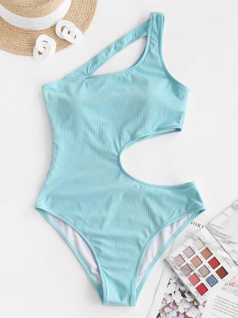 hot ZAFUL Irregular Beauty Cutout Ribbed One-piece Swimsuit - LIGHT BLUE L Mobile
