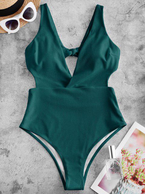fancy ZAFUL Ribbed Surplice-front Monokini Swimsuit - PEACOCK BLUE S Mobile