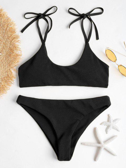 ZAFUL Bikini Acanalado con Hombros Acanalados - Negro M Mobile