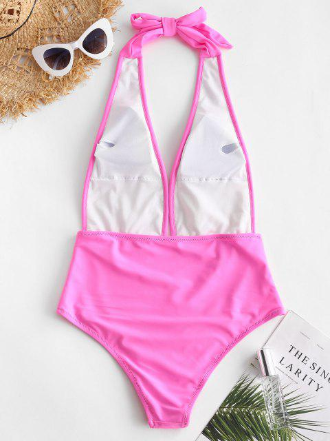 trendy ZAFUL Sequin Plunge Halter One-piece Swimsuit - PIG PINK S Mobile