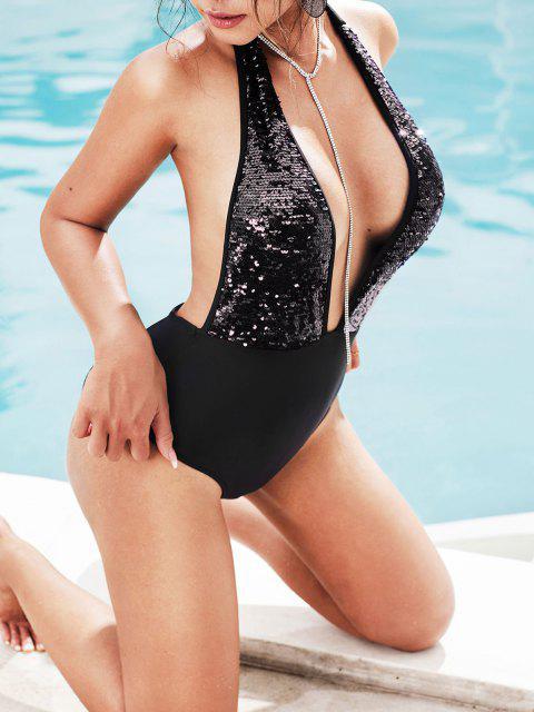 shops ZAFUL Sequin Plunge Halter One-piece Swimsuit - BLACK S Mobile
