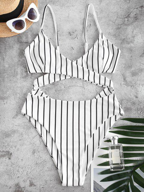 buy ZAFUL Ribbed Striped Criss Cross Backless One-piece Swimsuit - WHITE XL Mobile