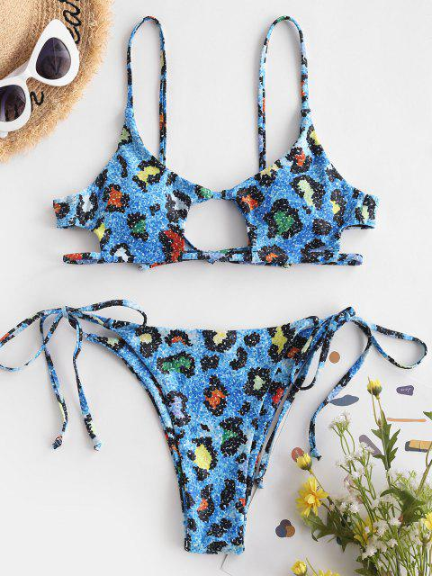 women's ZAFUL Tie Side Cutout Leopard Bikini Swimsuit - BLUE S Mobile