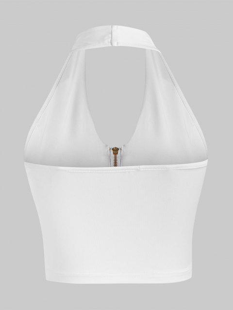 Canotta Corta con Halter e Zip Frontale - Bianca M Mobile