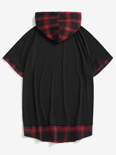 Spliced Plaid Drawstring Casual Hooded T-Shirt - أحمر M Mobile
