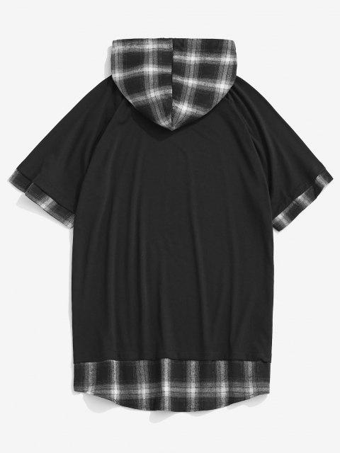 Spliced Plaid Drawstring Casual Hooded T-Shirt - أسود M Mobile