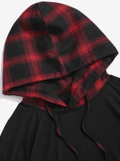 new Spliced Plaid Drawstring Casual Hooded T-Shirt - RED XXL Mobile