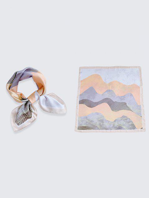 Cachecol de Seda Falsa com Impressão de Montanha - Damasco  Mobile