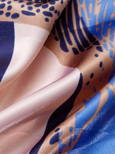 Farbblock Pferddruck Künstliche Seide - Kristal Blau  Mobile